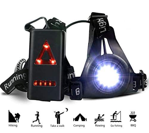 ATNKE LED Chest Torch, USB Rechargeable Night Running Light Lamp,Bright Waterproof Comfortable High Visibility Adjustable Flashlight with Taillight 3 Lighting Modes