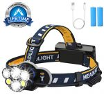 LED AOMEES Head Torch with USB and Red Warning Light, Best Head Torch