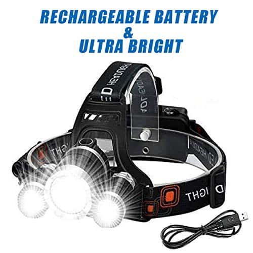 51SHfOMqzhL - Wesho LED Rechargeable Head Torch with 3 Lights 4 Modes, 6000 Lumen Super Bright LED Flashlight