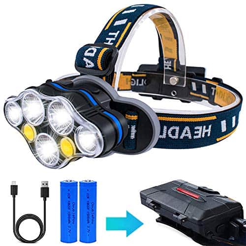LED AOMEES Head Torch with USB and Red Warning Light